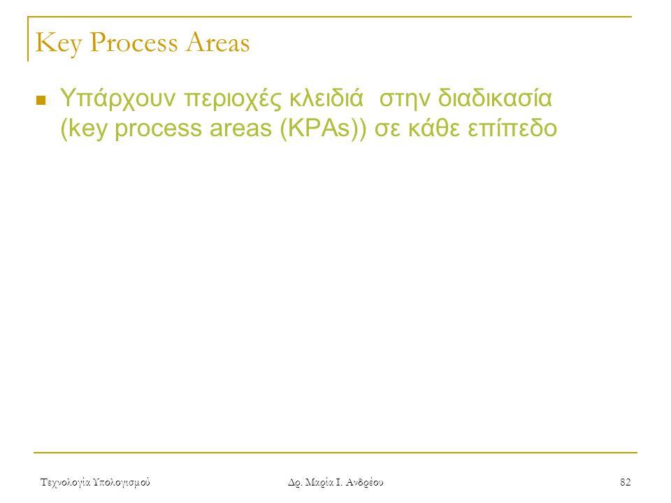 Key Process Areas Υπάρχουν περιοχές κλειδιά στην διαδικασία (key process areas (KPAs)) σε κάθε επίπεδο.