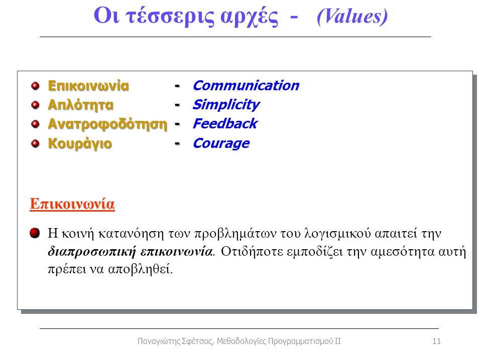 Οι τέσσερις αρχές - (Values)