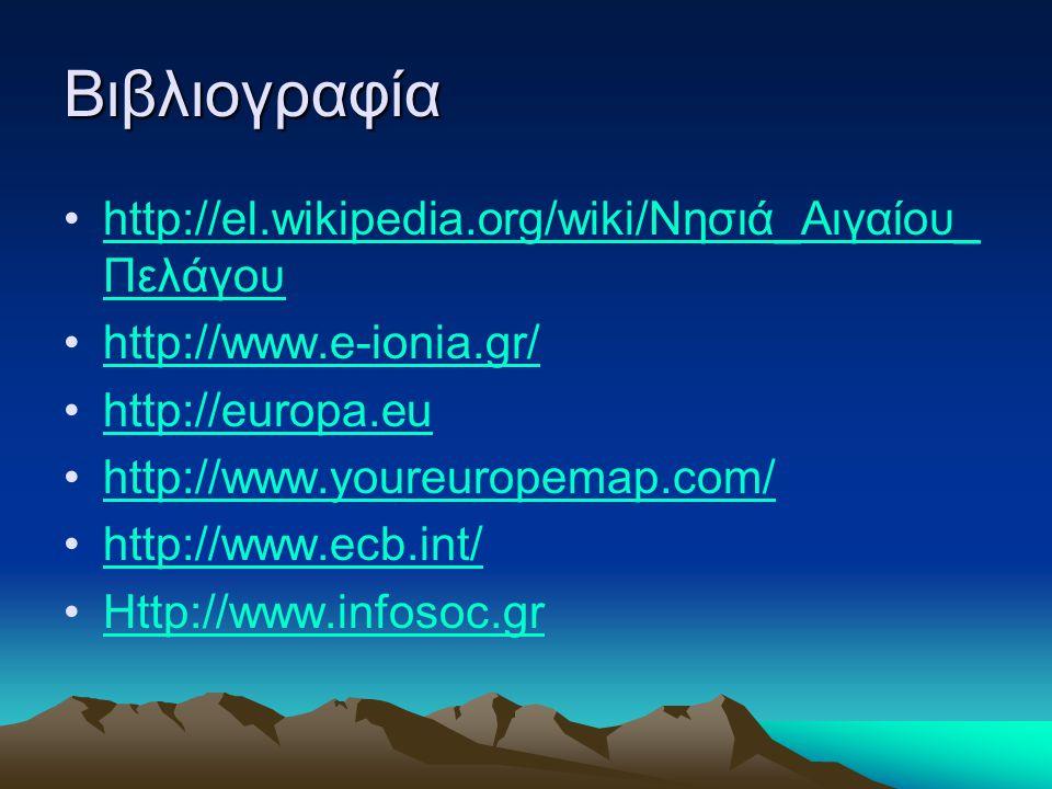 Βιβλιογραφία http://el.wikipedia.org/wiki/Νησιά_Αιγαίου_Πελάγου