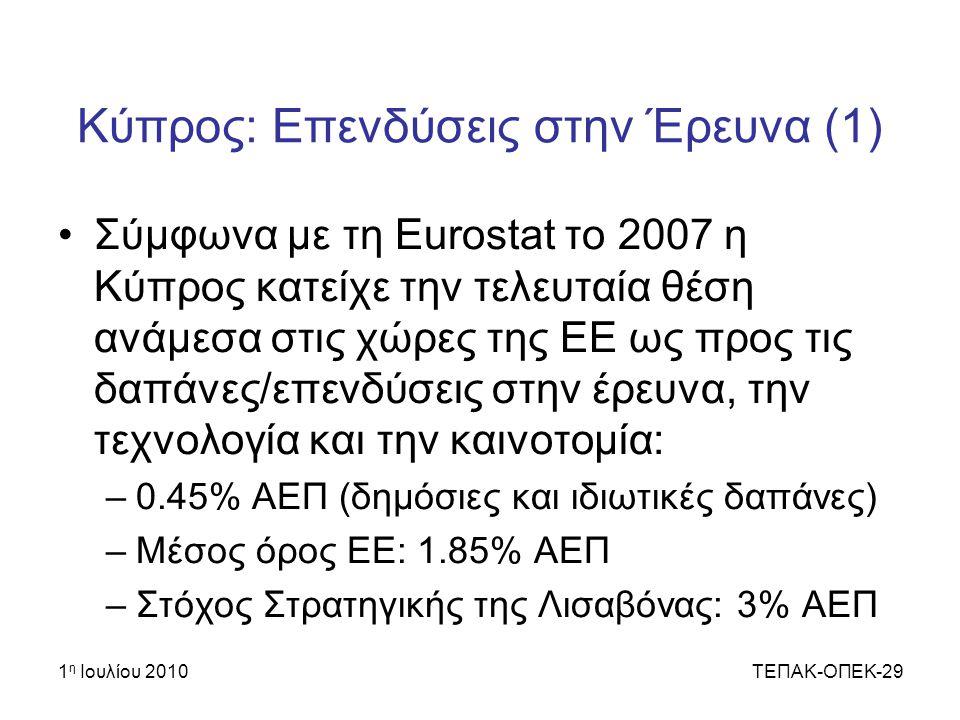 Κύπρος: Επενδύσεις στην Έρευνα (1)