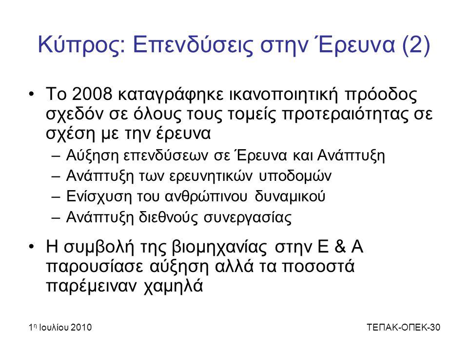 Κύπρος: Επενδύσεις στην Έρευνα (2)
