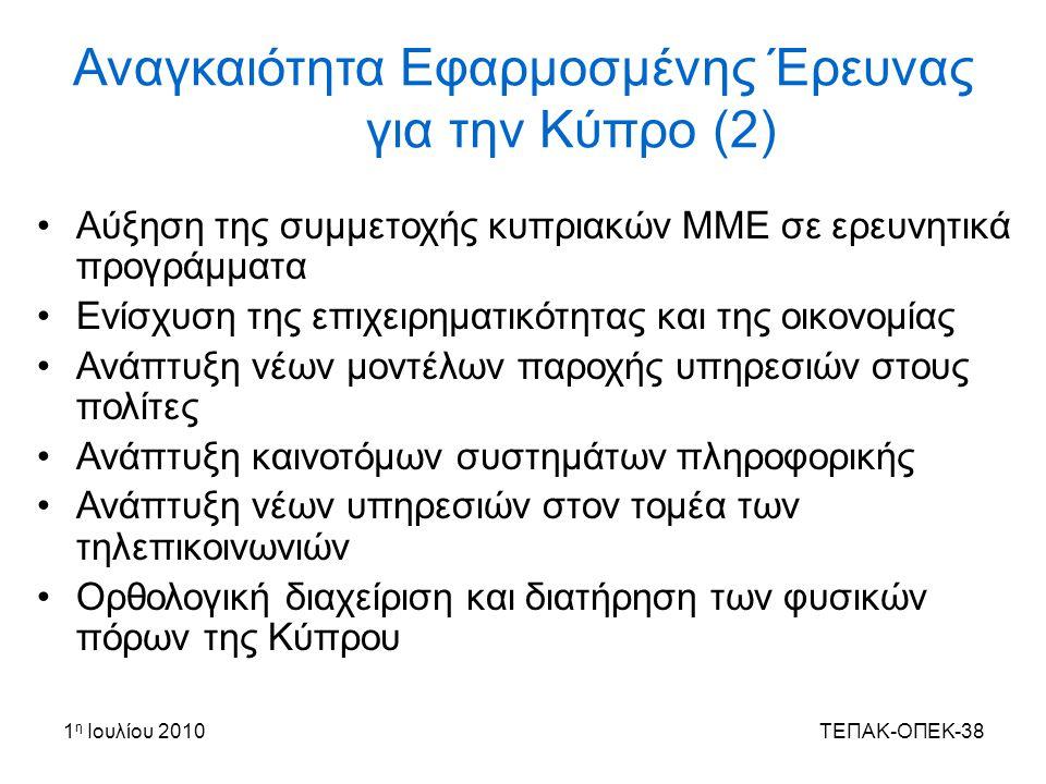 Αναγκαιότητα Εφαρμοσμένης Έρευνας για την Κύπρο (2)
