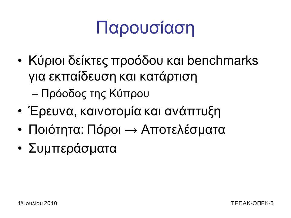 Παρουσίαση Κύριοι δείκτες προόδου και benchmarks για εκπαίδευση και κατάρτιση. Πρόοδος της Κύπρου.