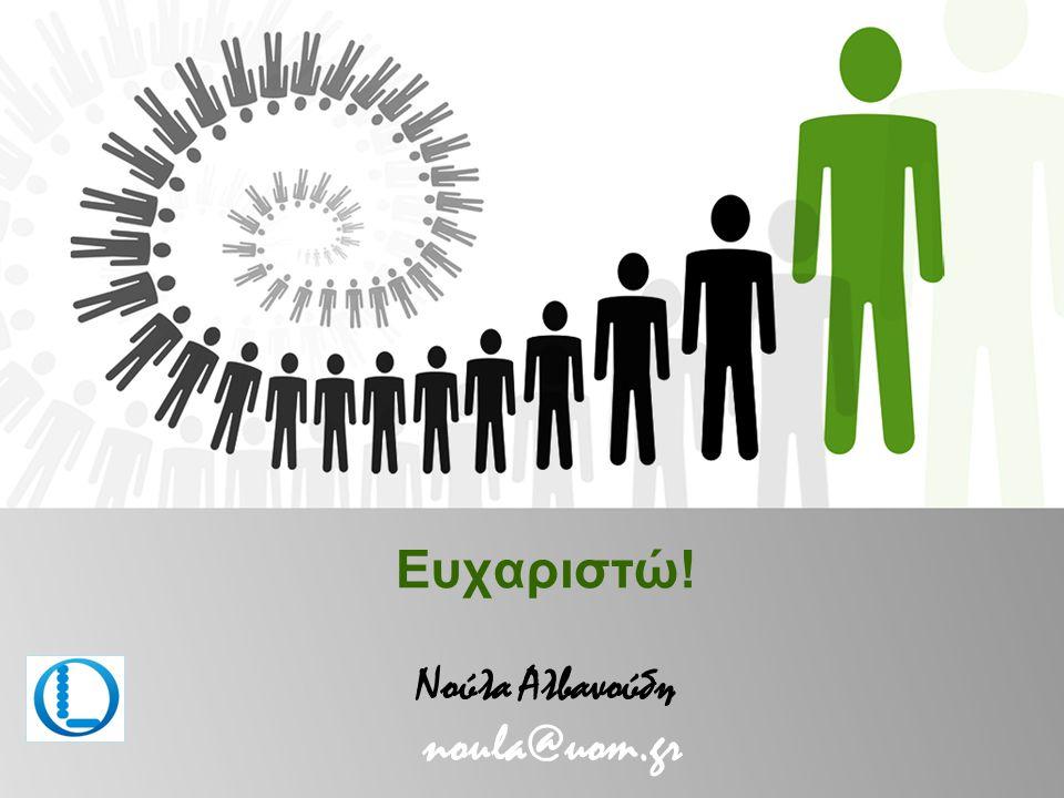 Ευχαριστώ! Νούλα Αλβανούδη noula@uom.gr