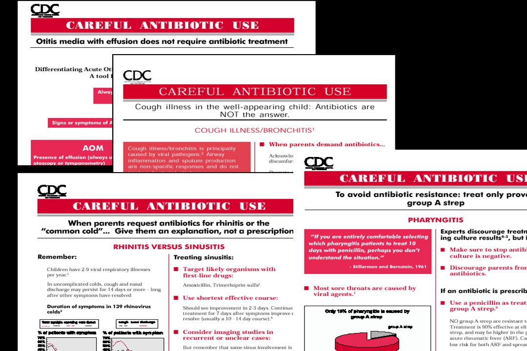 The CDC has produced a number of clinical guidelines related the judicious use of antibiotics.