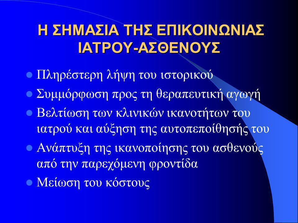 Η ΣΗΜΑΣΙΑ ΤΗΣ ΕΠΙΚΟΙΝΩΝΙΑΣ ΙΑΤΡΟΥ-ΑΣΘΕΝΟΥΣ