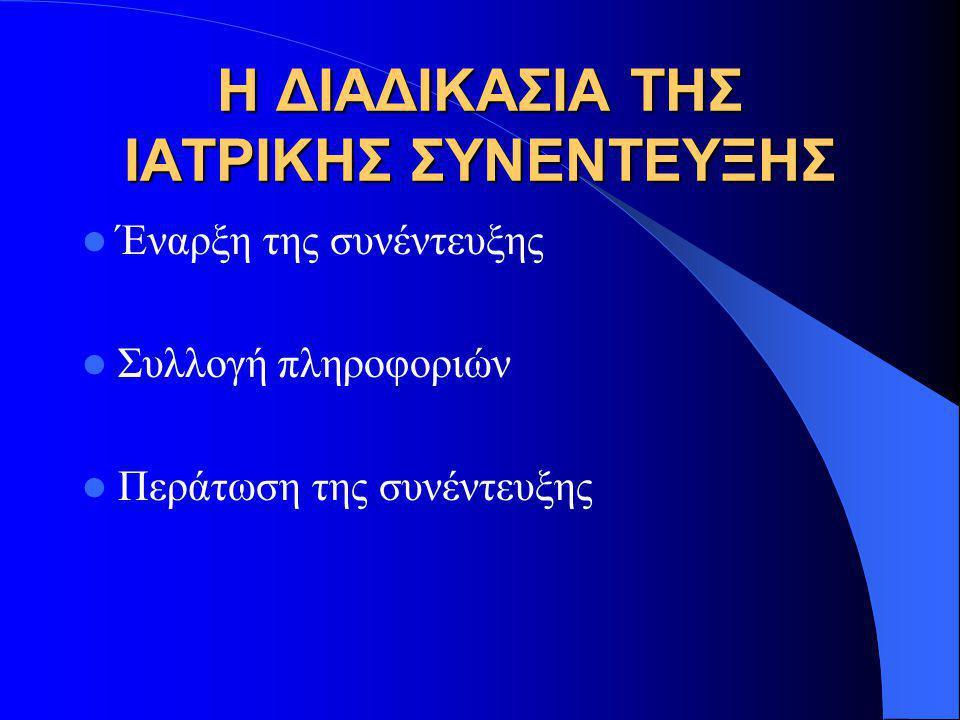 Η ΔΙΑΔΙΚΑΣΙΑ ΤΗΣ ΙΑΤΡΙΚΗΣ ΣΥΝΕΝΤΕΥΞΗΣ