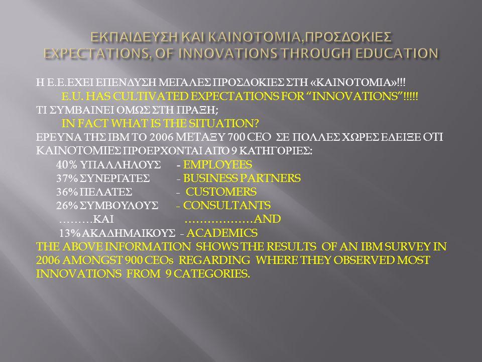 ΕΚΠΑΙΔΕΥΣΗ ΚΑΙ KAINOTOMIA,ΠΡΟΣΔΟΚΙΕΣ EXPECTATIONS, OF INNOVATIONS THROUGH EDUCATION