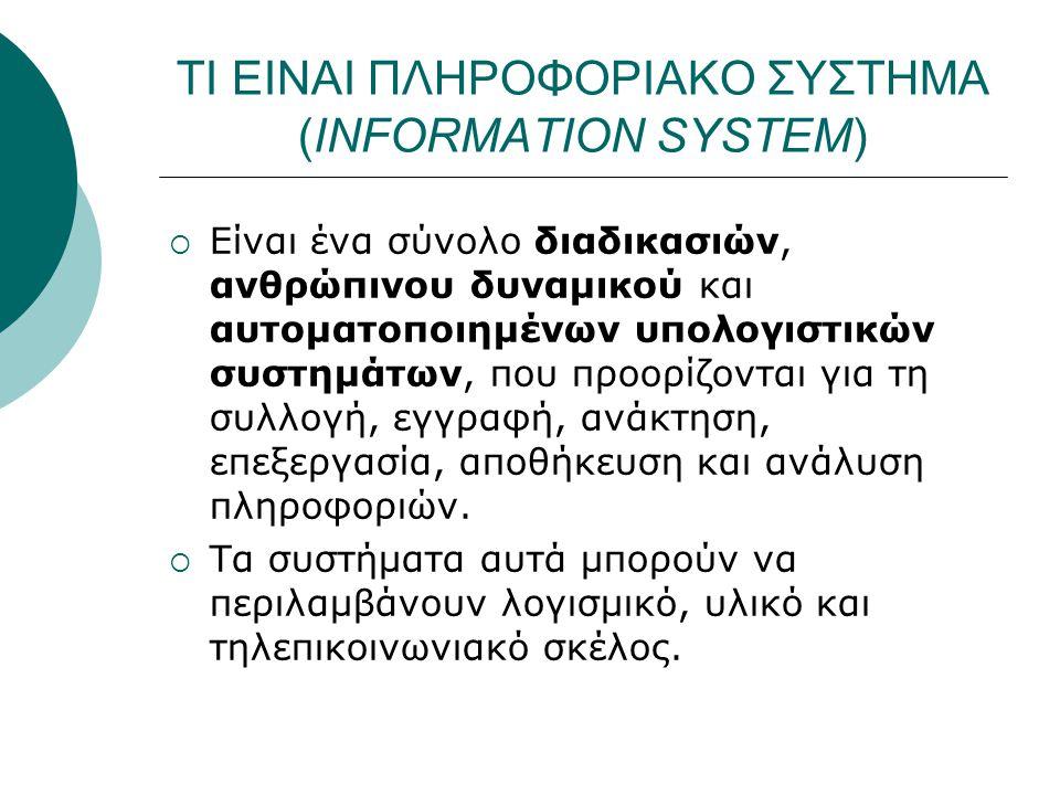 ΤΙ ΕΙΝΑΙ ΠΛΗΡΟΦΟΡΙΑΚΟ ΣΥΣΤΗΜΑ (INFORMATION SYSTEM)