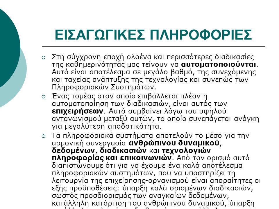 ΕΙΣΑΓΩΓΙΚΕΣ ΠΛΗΡΟΦΟΡΙΕΣ