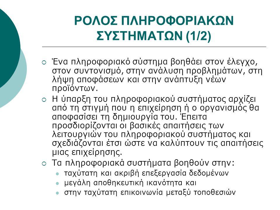 ΡΟΛΟΣ ΠΛΗΡΟΦΟΡΙΑΚΩΝ ΣΥΣΤΗΜΑΤΩΝ (1/2)
