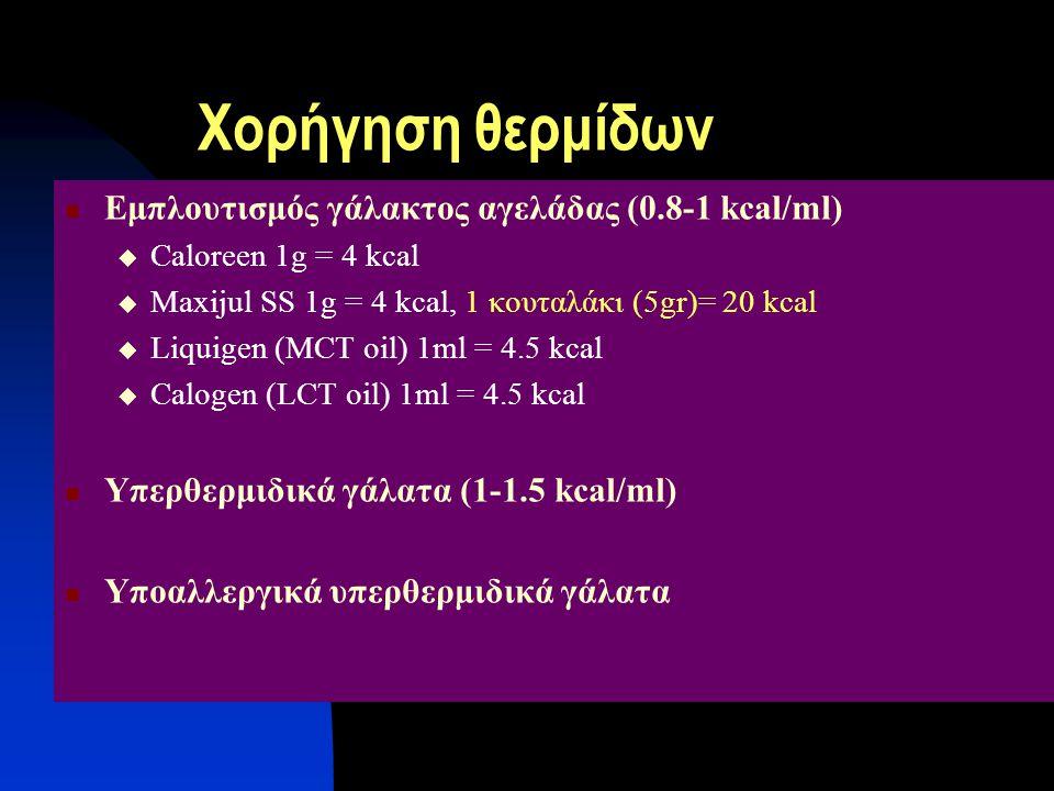 Χορήγηση θερμίδων Εμπλουτισμός γάλακτος αγελάδας (0.8-1 kcal/ml)