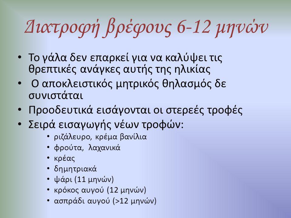 Διατροφή βρέφους 6-12 μηνών