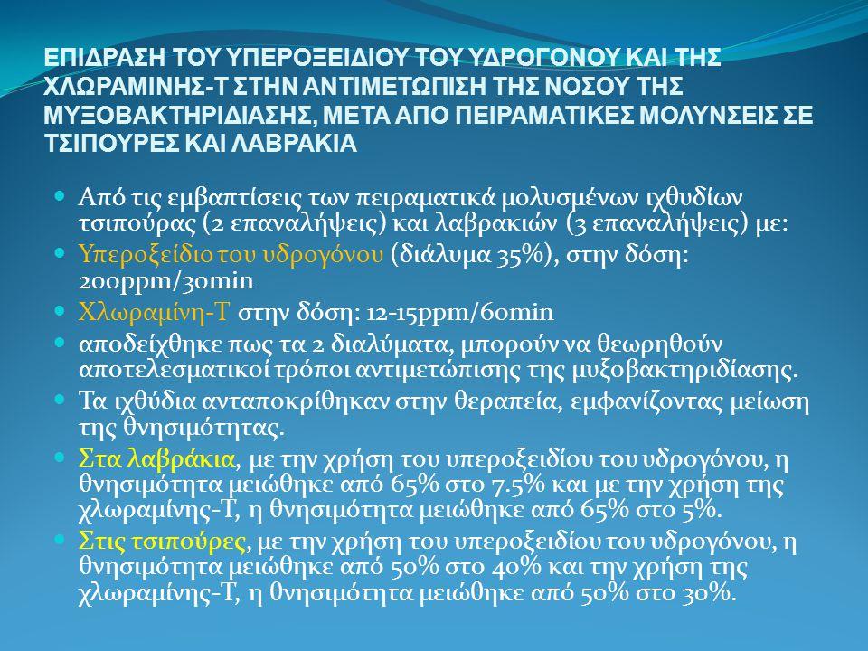 Υπεροξείδιο του υδρογόνου (διάλυμα 35%), στην δόση: 200ppm/30min