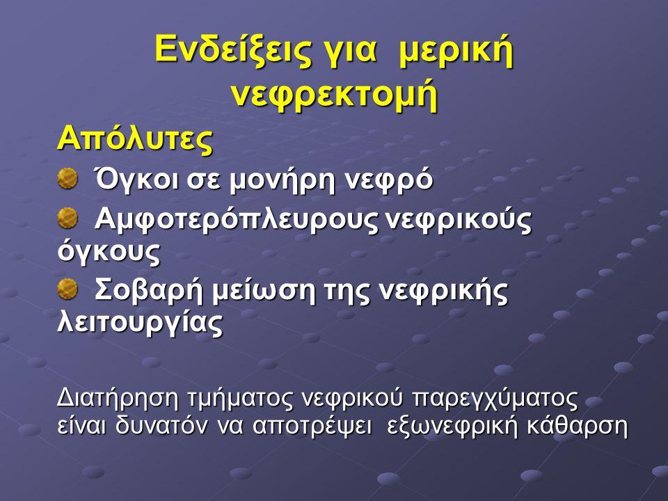 Ενδείξεις για μερική νεφρεκτομή