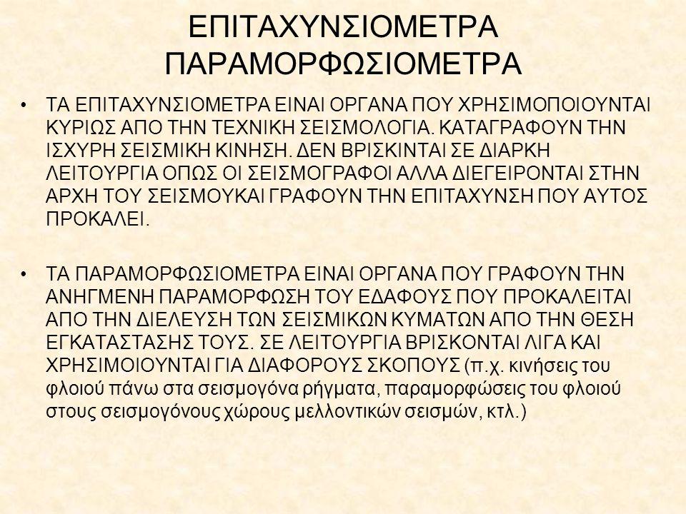 ΕΠΙΤΑΧΥΝΣΙΟΜΕΤΡΑ ΠΑΡΑΜΟΡΦΩΣΙΟΜΕΤΡΑ