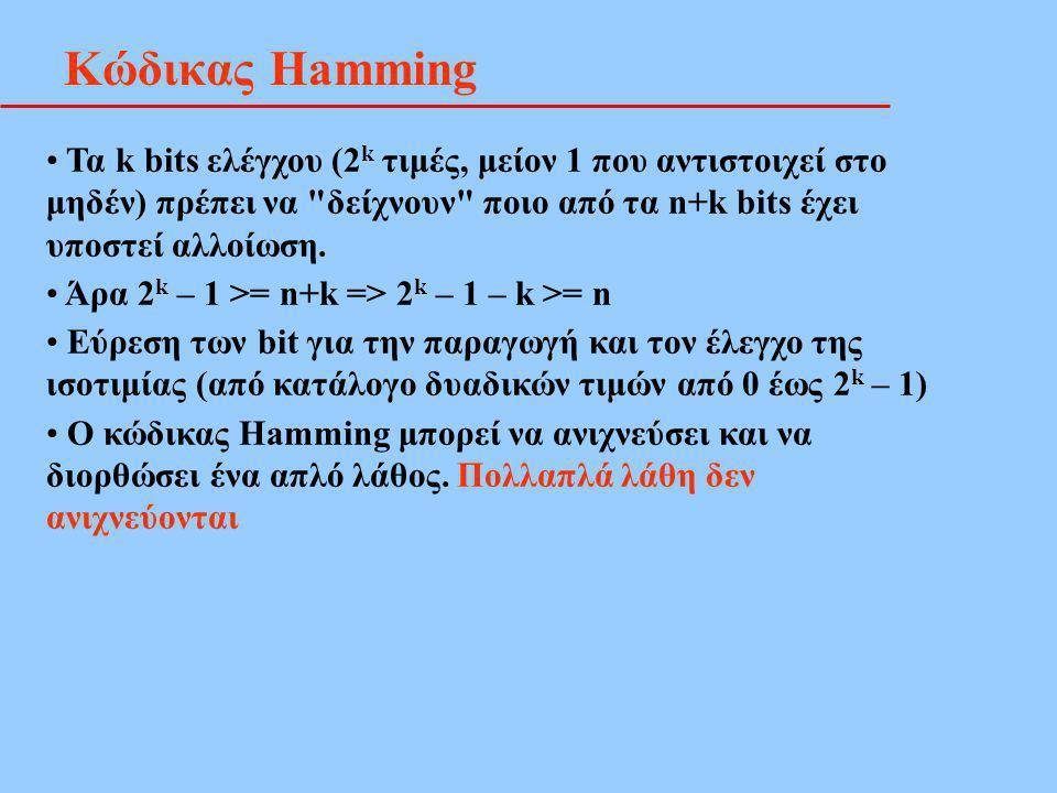 Κώδικας Hamming Τα k bits ελέγχου (2k τιμές, μείον 1 που αντιστοιχεί στο μηδέν) πρέπει να δείχνουν ποιο από τα n+k bits έχει υποστεί αλλοίωση.