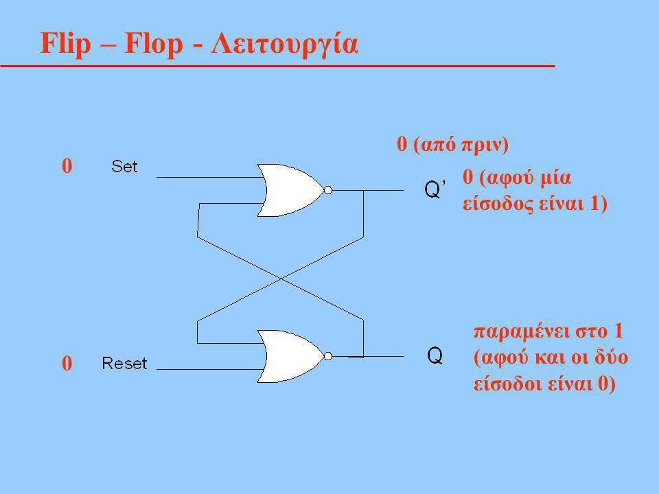 Flip – Flop - Λειτουργία