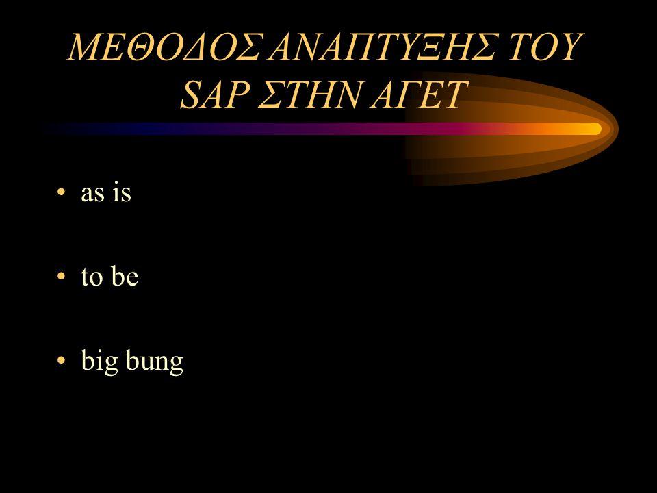 ΜΕΘΟΔΟΣ ΑΝΑΠΤΥΞΗΣ ΤΟΥ SAP ΣΤΗΝ ΑΓΕΤ
