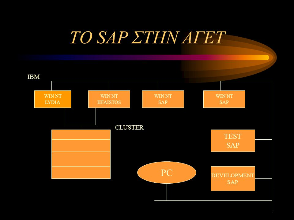 ΤΟ SAP ΣΤΗΝ ΑΓΕΤ PC TEST SAP IBM CLUSTER DEVELOPMENT SAP WIN NT LYDIA