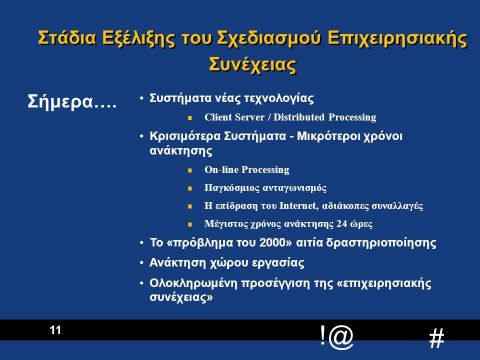 Στάδια Εξέλιξης του Σχεδιασμού Επιχειρησιακής Συνέχειας