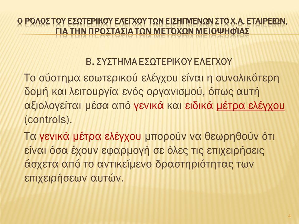Β. ΣΥΣΤΗΜΑ ΕΣΩΤΕΡΙΚΟΥ ΕΛΕΓΧΟΥ