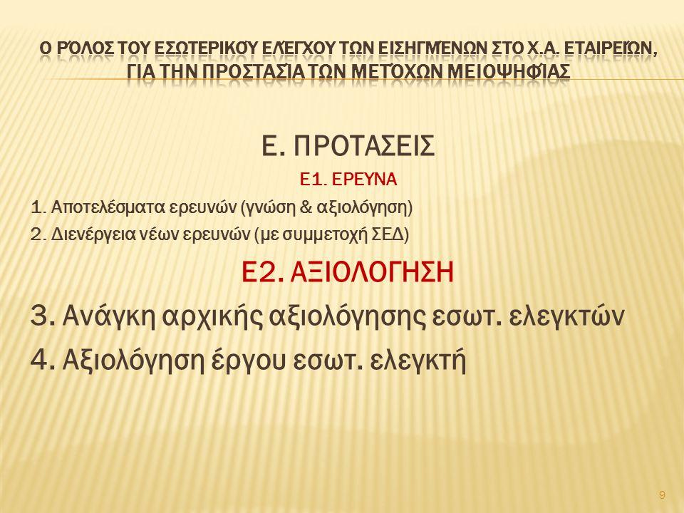 Ε. ΠΡΟΤΑΣΕΙΣ Ε2. ΑΞΙΟΛΟΓΗΣΗ