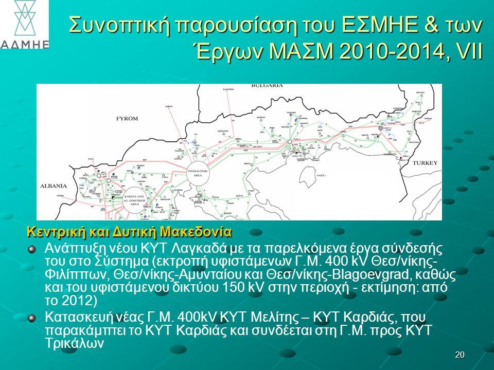 Συνοπτική παρουσίαση του ΕΣΜΗΕ & των Έργων ΜΑΣΜ 2010-2014, VII