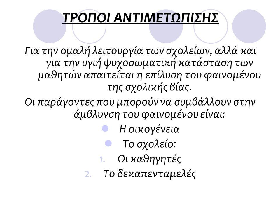 ΤΡΟΠΟΙ ΑΝΤΙΜΕΤΩΠΙΣΗΣ