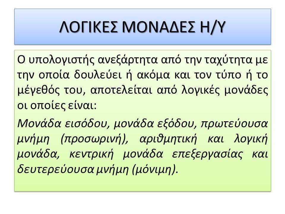 ΛΟΓΙΚΕΣ ΜΟΝΑΔΕΣ Η/Υ
