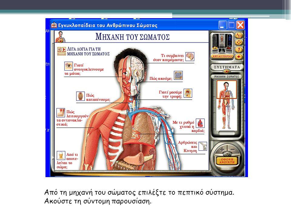 Από τη μηχανή του σώματος επιλέξτε το πεπτικό σύστημα