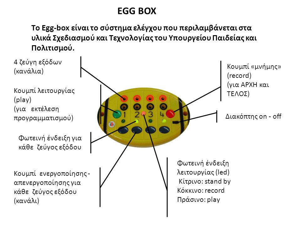 EGG BOX Tο Egg-box είναι το σύστημα ελέγχου που περιλαμβάνεται στα υλικά Σχεδιασμού και Τεχνολογίας του Υπουργείου Παιδείας και Πολιτισμού.