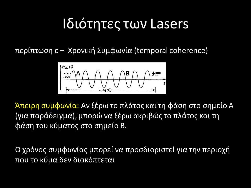 Ιδιότητες των Lasers