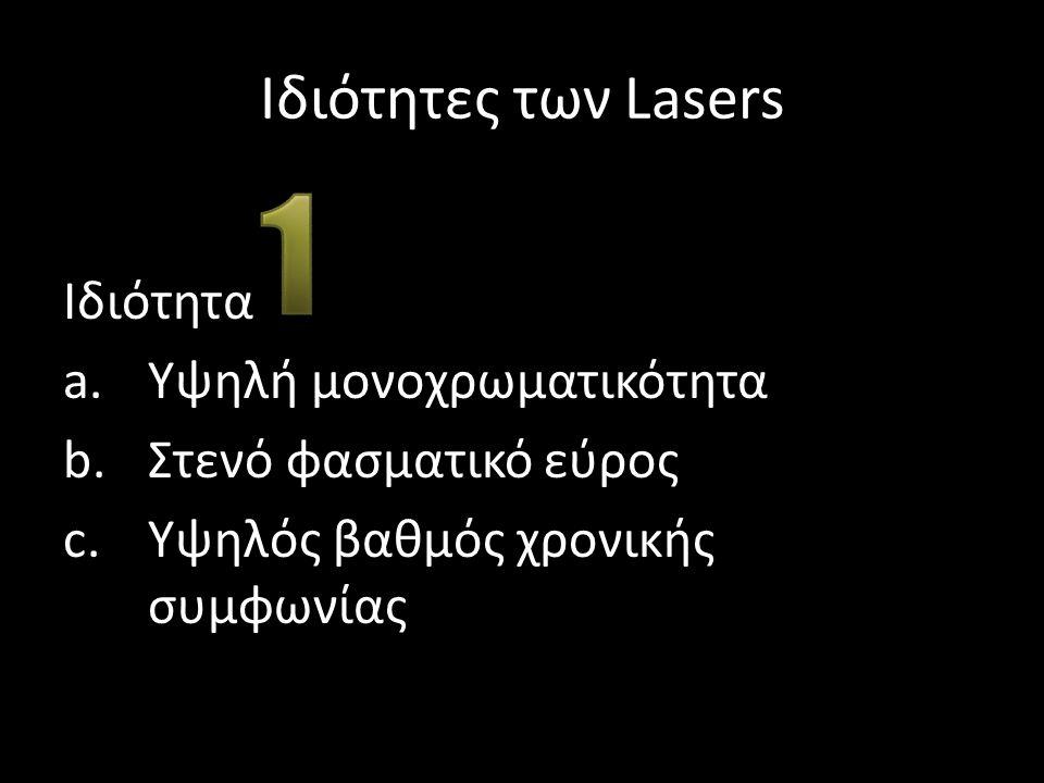 Ιδιότητες των Lasers Ιδιότητα Υψηλή μονοχρωματικότητα