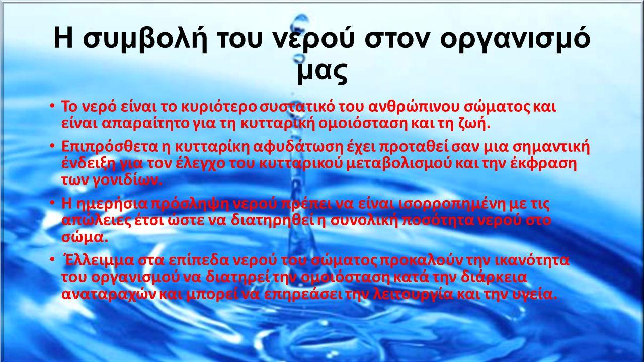 Η συμβολή του νερού στον οργανισμό μας