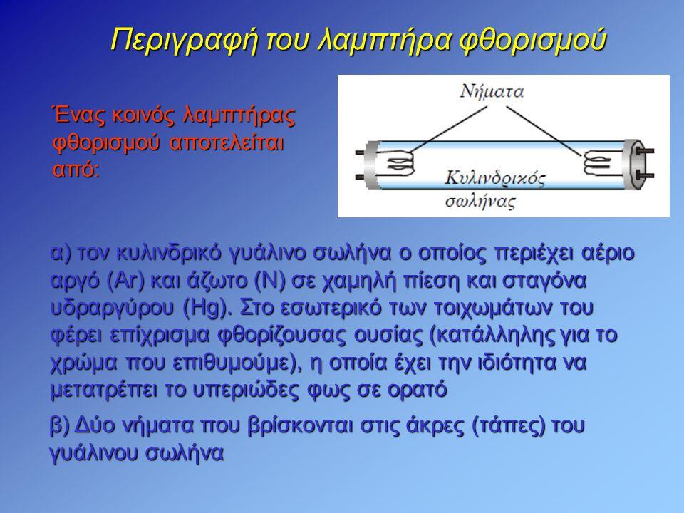 Περιγραφή του λαμπτήρα φθορισμού