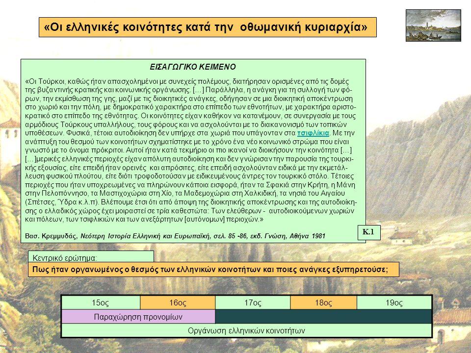 Οργάνωση ελληνικών κοινοτήτων