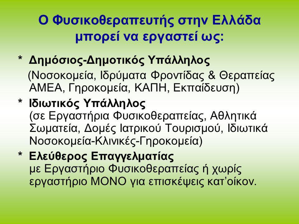 Ο Φυσικοθεραπευτής στην Ελλάδα μπορεί να εργαστεί ως: