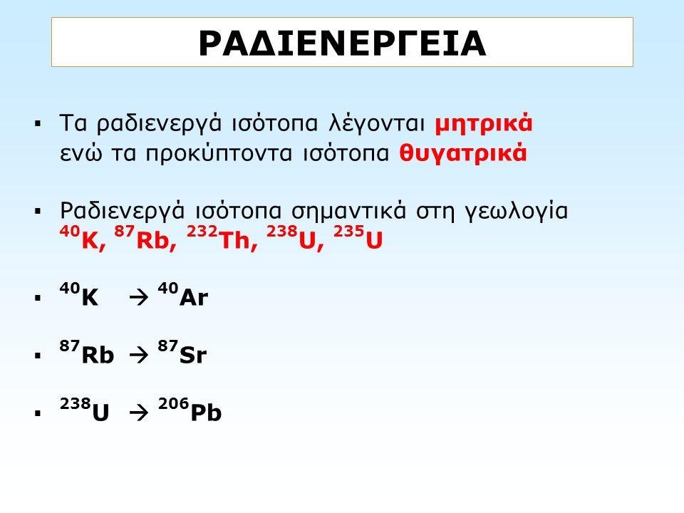 ΡΑΔΙΕΝΕΡΓΕΙΑ Τα ραδιενεργά ισότοπα λέγονται μητρικά ενώ τα προκύπτοντα ισότοπα θυγατρικά.