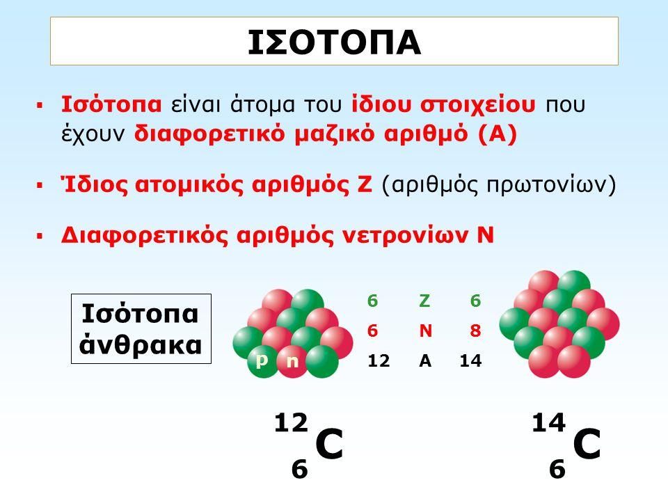 C C ΙΣΟΤΟΠΑ Ισότοπα άνθρακα 12 6 14 6