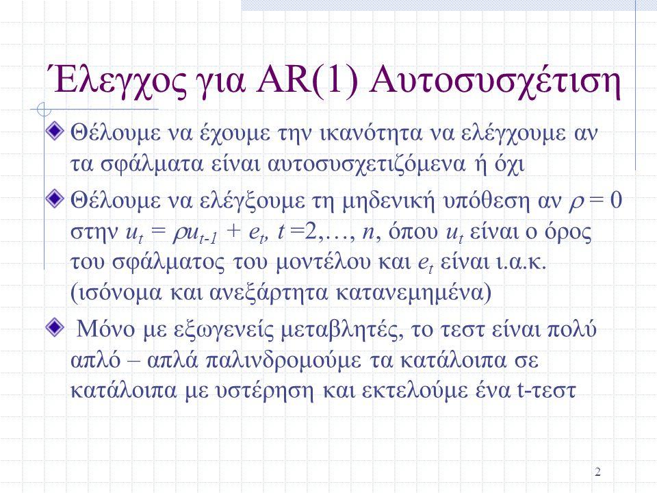 Έλεγχος για AR(1) Αυτοσυσχέτιση