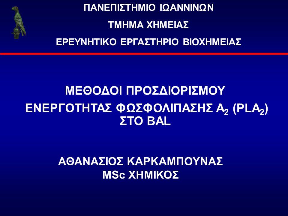 ΜΕΘΟΔΟΙ ΠΡΟΣΔΙΟΡΙΣΜΟΥ ΕΝΕΡΓΟΤΗΤΑΣ ΦΩΣΦΟΛΙΠΑΣΗΣ Α2 (PLA2) ΣΤΟ BAL