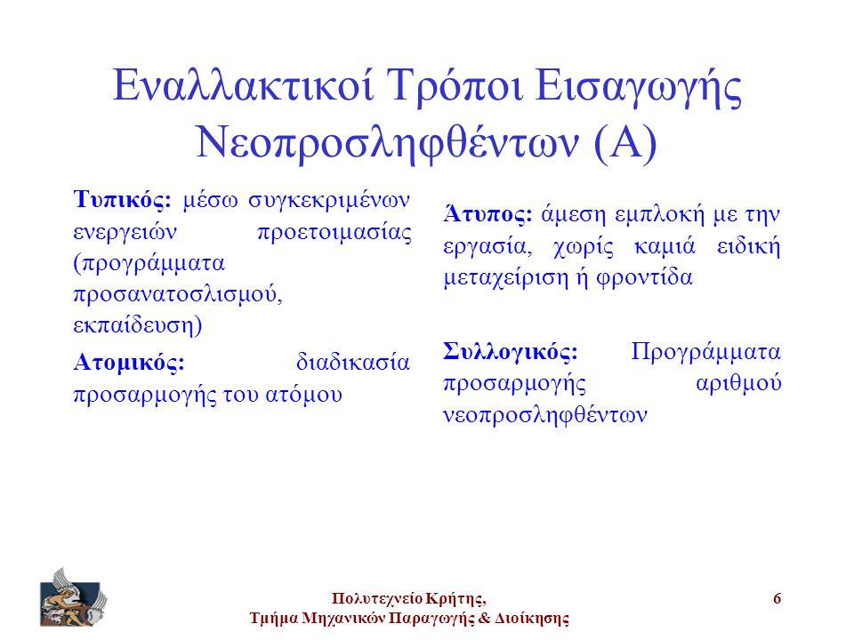 Εναλλακτικοί Τρόποι Εισαγωγής Νεοπροσληφθέντων (Α)