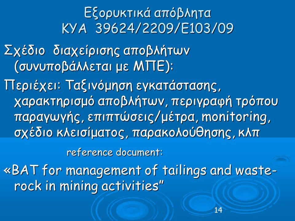 Εξορυκτικά απόβλητα ΚΥΑ 39624/2209/Ε103/09