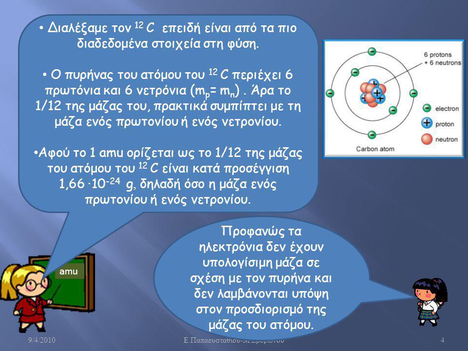 1,66· 10-24 g, δηλαδή όσο η μάζα ενός πρωτονίου ή ενός νετρονίου.