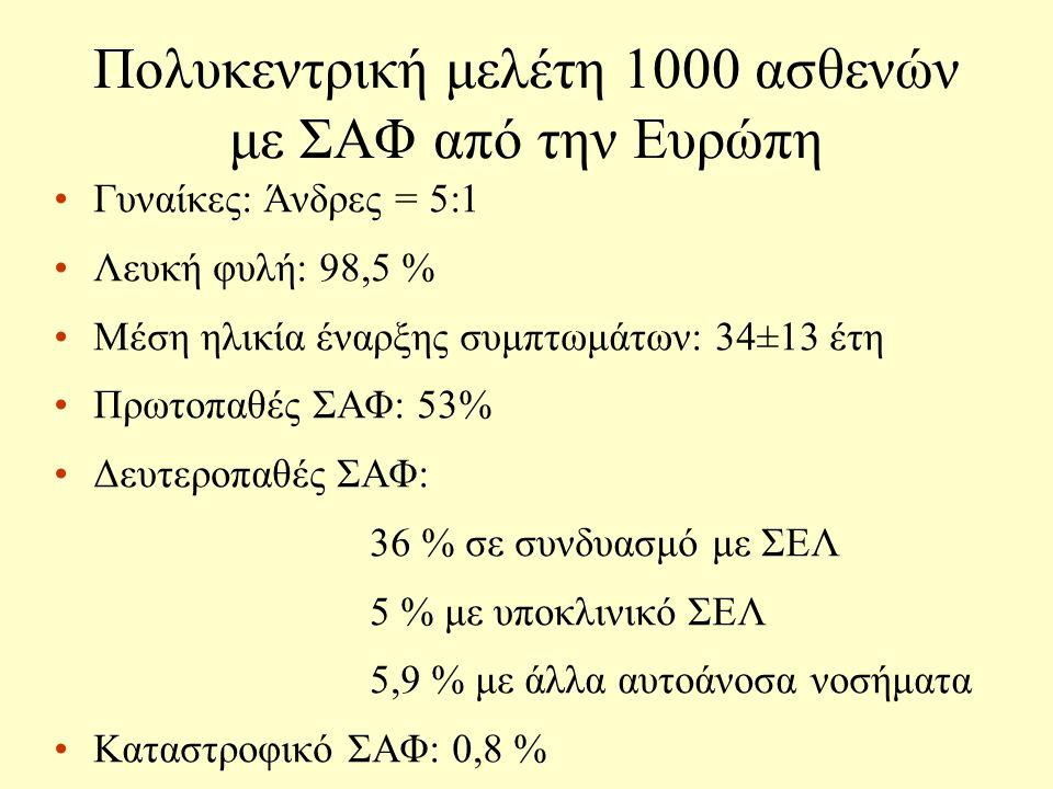 Πολυκεντρική μελέτη 1000 ασθενών με ΣΑΦ από την Ευρώπη