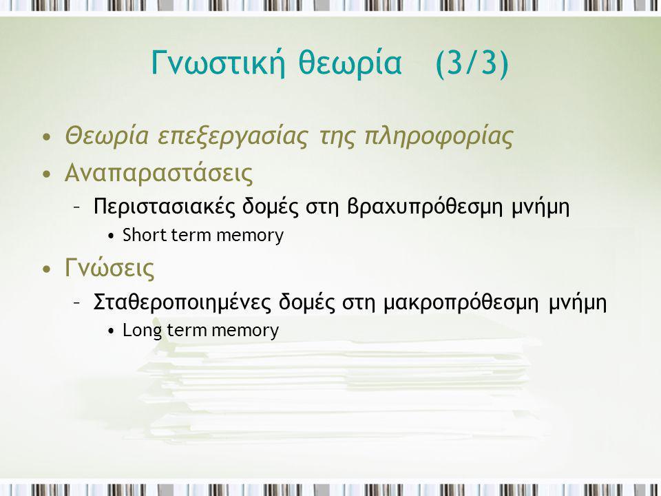 Γνωστική θεωρία (3/3) Θεωρία επεξεργασίας της πληροφορίας