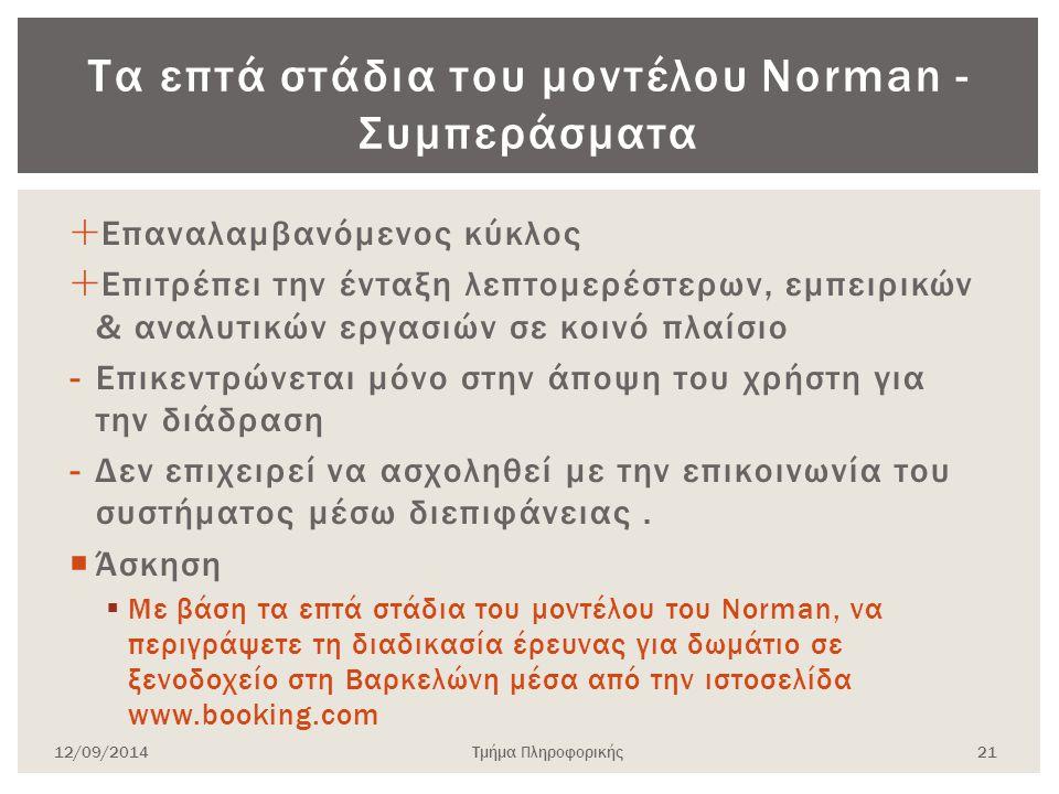 Τα επτά στάδια του μοντέλου Norman - Συμπεράσματα