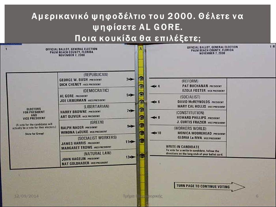 Αμερικανικό ψηφοδέλτιο του 2000. Θέλετε να ψηφίσετε AL GORE