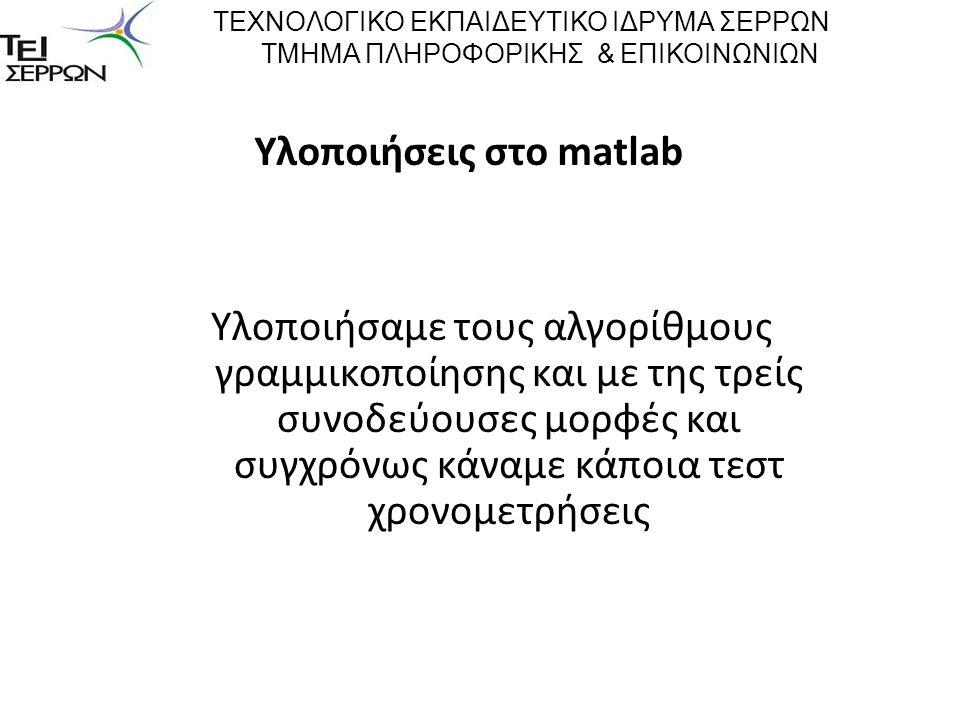 Υλοποιήσεις στο matlab